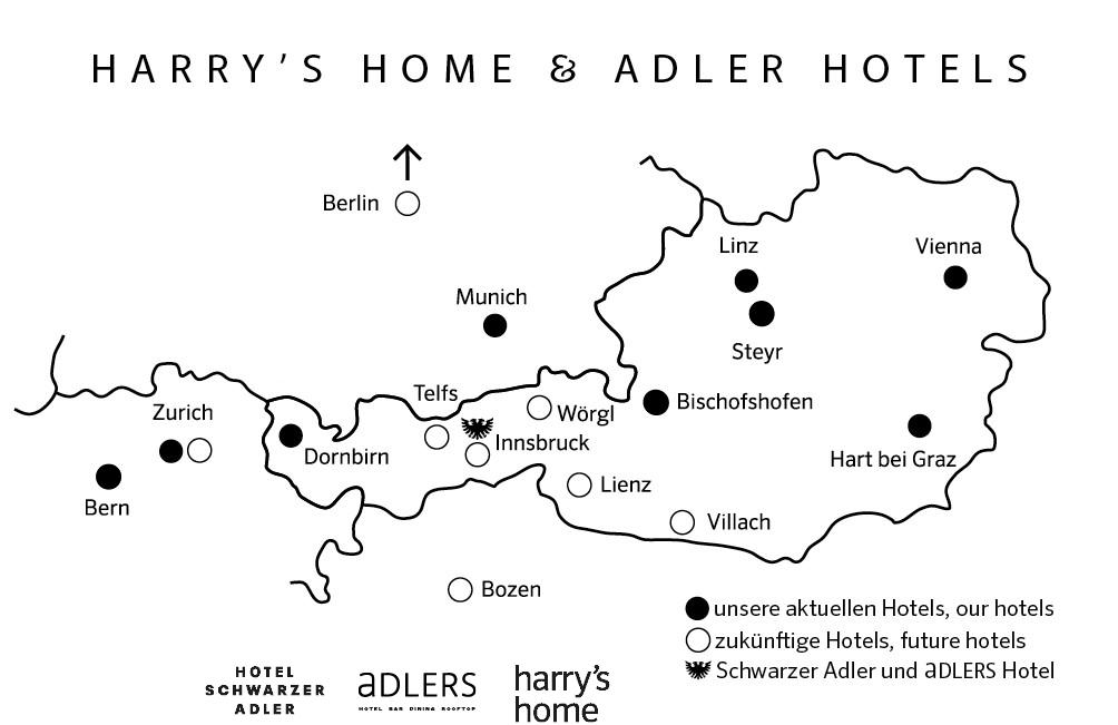 Logo Landkarte Harrys Home und Adler Hotels